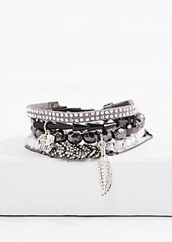 Diamante Feather Friendship Bracelet Set