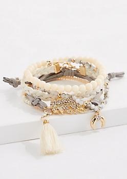 5-Pack Golden Leaf Bracelet Set