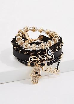5-Pack Peace & Love Bracelet Set