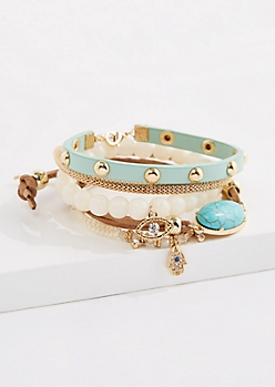 5-Pack Pearly Turquoise Bracelet Set