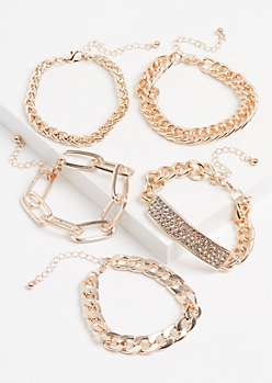 5-Pack Rose Gold Metallic Chain Bracelet Set