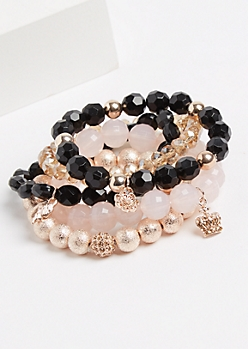 5-Pack Pink & Gold Beaded Bracelet Set