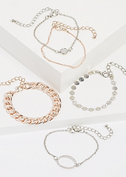 5-Pack Mixed Metal Bracelet Set