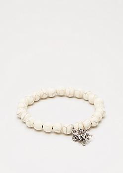 Elephant Faux Ivory Stone Beaded Bracelet