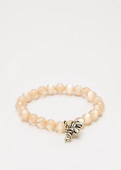 Elephant Milky Stone Beaded Bracelet