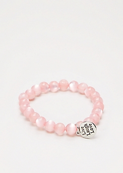 Love Pink Stone Beaded Bracelet