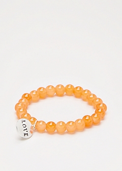 Love Orange Stone Beaded Bracelet