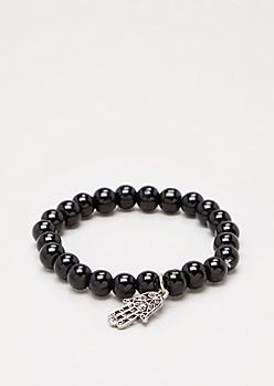 Hamsa Black Stone Beaded Bracelet