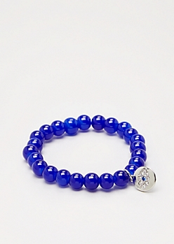 Seeing Eye Cobalt Stone Beaded Bracelet
