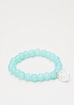 Cutout Heart Mint Stone Beaded Bracelet