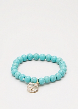 Peace Turquoise Stone Beaded Bracelet