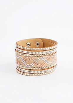 Tan Swirling Studded Cuff Bracelet
