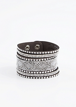 Black Swirling Studded Cuff Bracelet