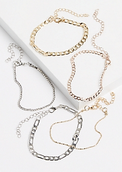 5-Pack Mixed Metal Chain Bracelet Set