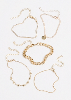 5-Pack Heart & Chain Bracelet Set