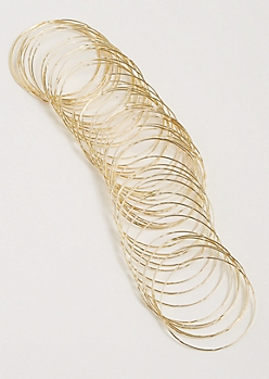 50-Pack Gold Textured Bangle Set
