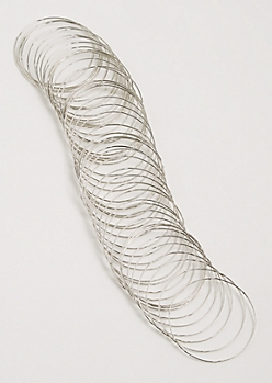 50-Pack Silver Textured Bangle Set