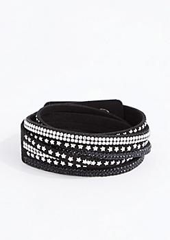 Star & Rhinestone Studded Wrap Bracelet