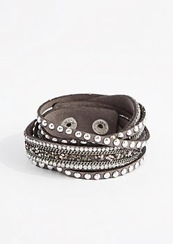 Gray Druzy & Rhinestone Wrap Bracelet