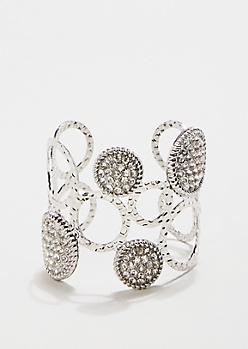 Metallic Silver Circle Cuff Bracelet