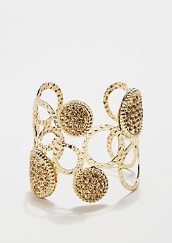 Metallic Gold Circle Cuff Bracelet