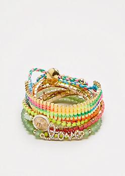 Neon Beaded Boho Bracelet Set