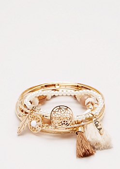 Golden Beaded Dreamcatcher Bracelet Set