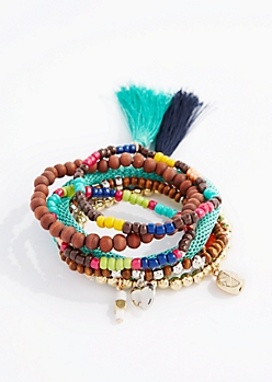 Color Burst Beaded Tassel Bracelet Set