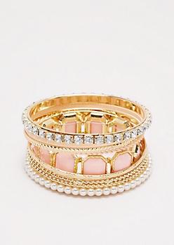Pink Stone Bangle Set
