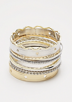 Starry Mixed Metal Bangle Set