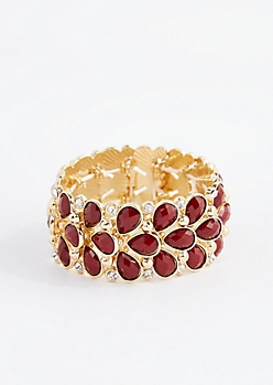 Burgundy Stone Drop Bracelet