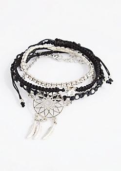 Black Dreamcatcher Bracelet Set