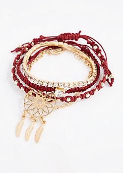 Burgundy Dreamcatcher Bracelet Set