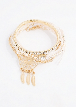 Pink Dreamcatcher Bracelet Set