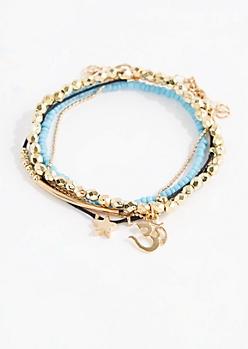 4-Pack Om Beaded Friendship Bracelets