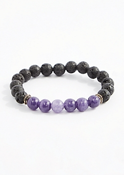 Amethyst Lava Rock Beaded Bracelet