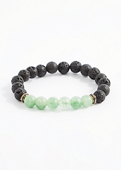 Aventurine Lava Rock Beaded Bracelet