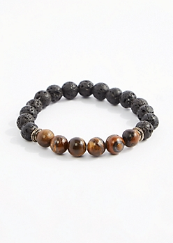 Tiger Eye Lava Rock Beaded Bracelet