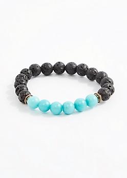 Turquoise Lava Rock Beaded Bracelet