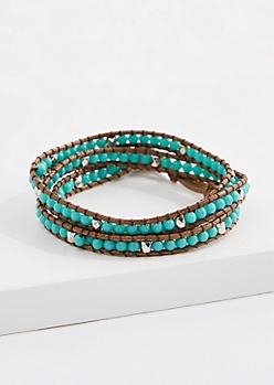 Turquoise Bead Corded Wrap Bracelet