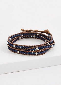 Lapis Bead Corded Wrap Bracelet
