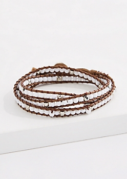 Smoky Quartz Bead Corded Wrap Bracelet