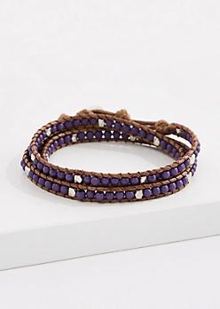 Amethyst Bead Corded Wrap Bracelet