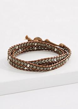 Gray Quartz Bead Corded Wrap Bracelet