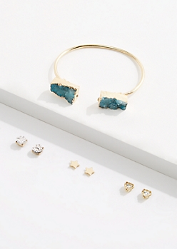 Blue Druzy Cuff & Stud Earring Set