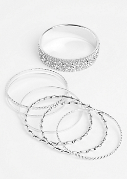 7-Pack Silver Encrusted & Twisted Bangle Set