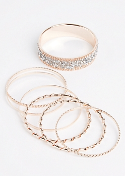 7-Pack Rose Gold Encrusted & Twisted Bangle Set