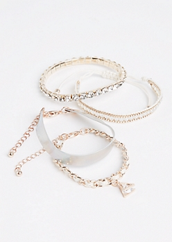 4-Pack Rose Gold & Cuff Bracelet Set