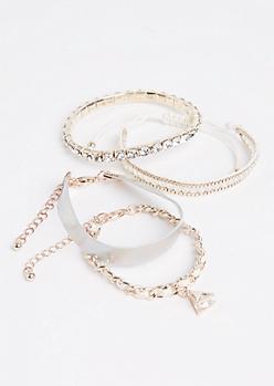 4-Pack Rose Gold & Cuff Bracelet Set