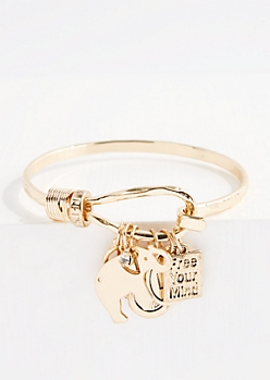 Elephant Charm Hooked Bangle Bracelet